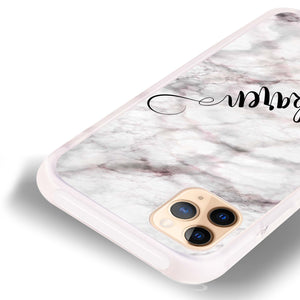 Cursive Name & Marble Frosted Bumper Case