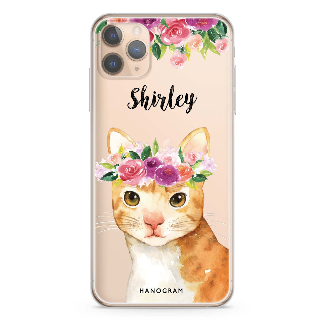 Floral and Cat iPhone 11 Pro Max Soft Clear Case