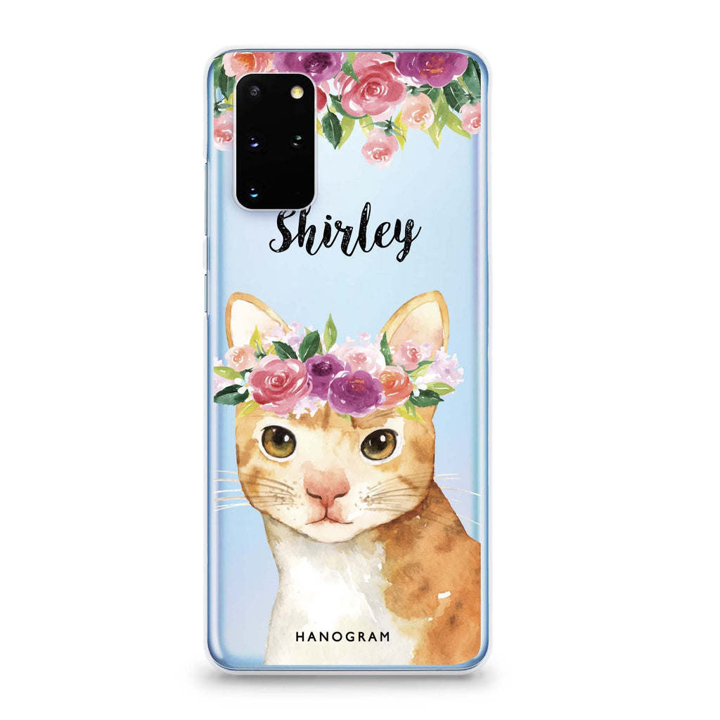 Floral and Cat Samsung S20 Soft Clear Case