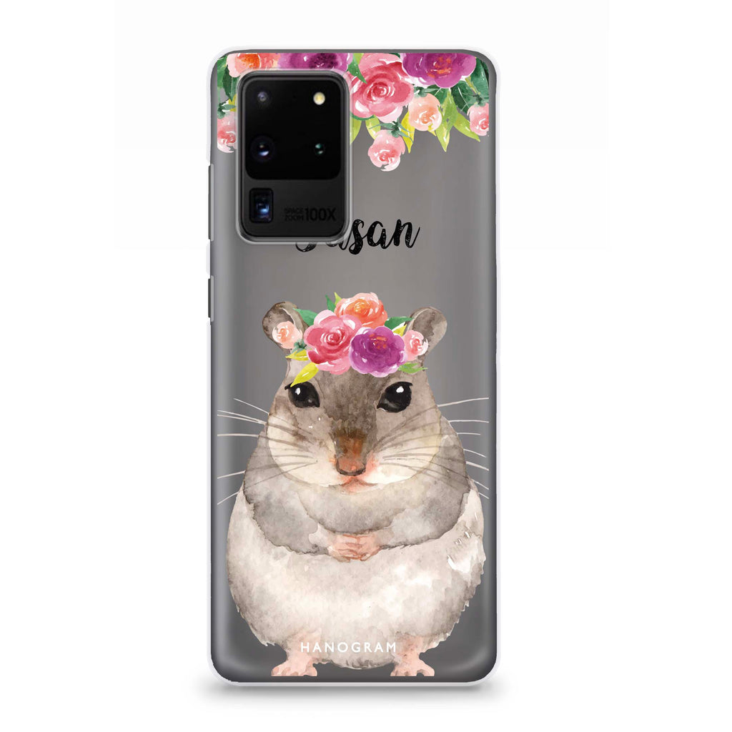 Floral and Hamster Samsung S20 Ultra Soft Clear Case