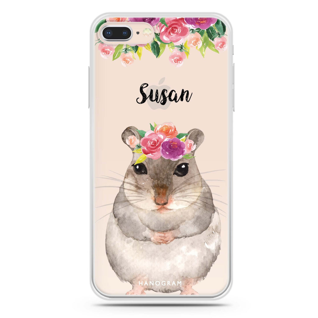 Floral and Hamster iPhone 8 Soft Clear Case