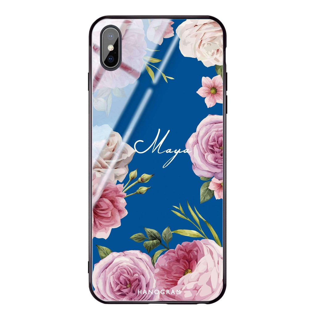 Beautiful Pretty Floral Princess Blue Glass Case