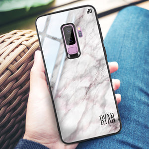 White Marble Samsung S9 Plus Glass Case