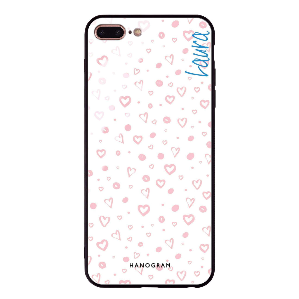 Pinky Hearts iPhone 8 Plus Glass Case