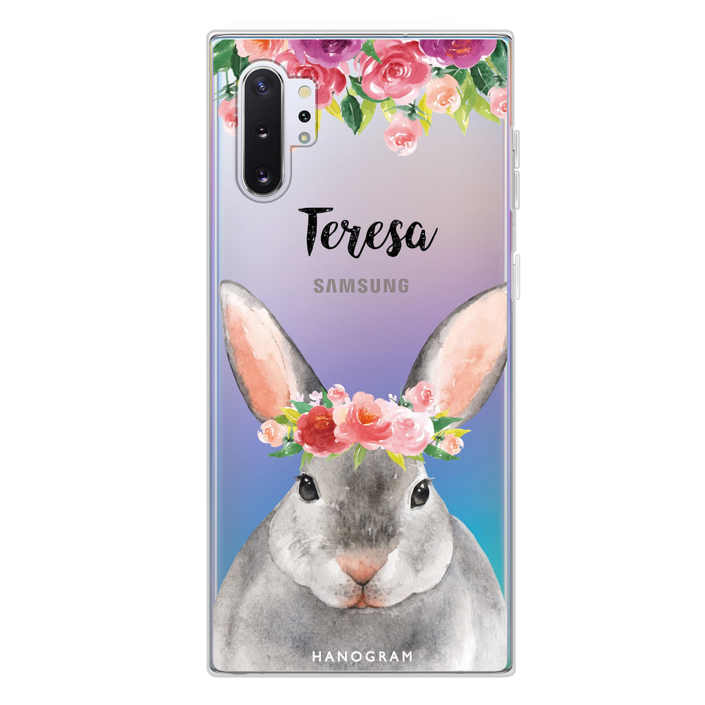 Floral and Bunny Samsung Note 10 Plus Soft Clear Case