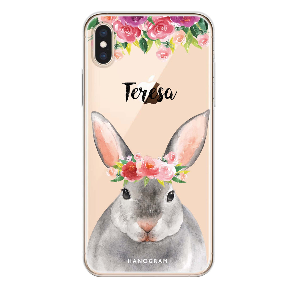 Floral and Bunny iPhone XS Soft Clear Case