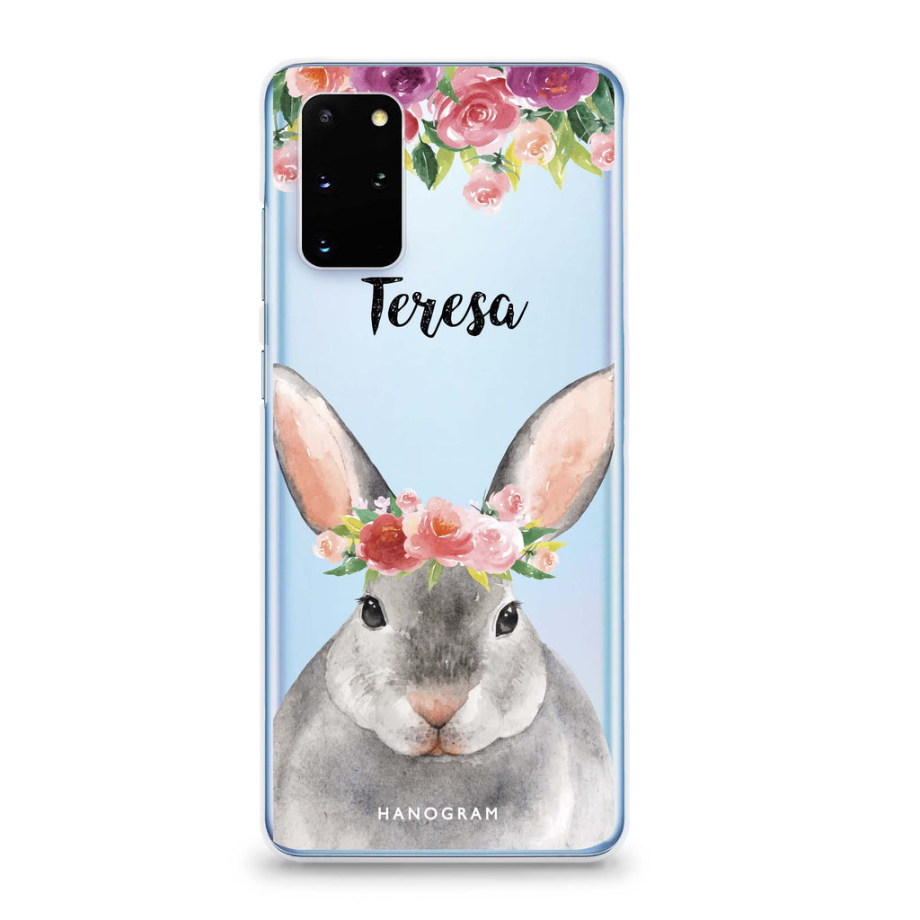 Floral and Bunny Samsung S20 Soft Clear Case