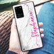 Vertical Cursive & Marble Sleek Samsung Glass Case