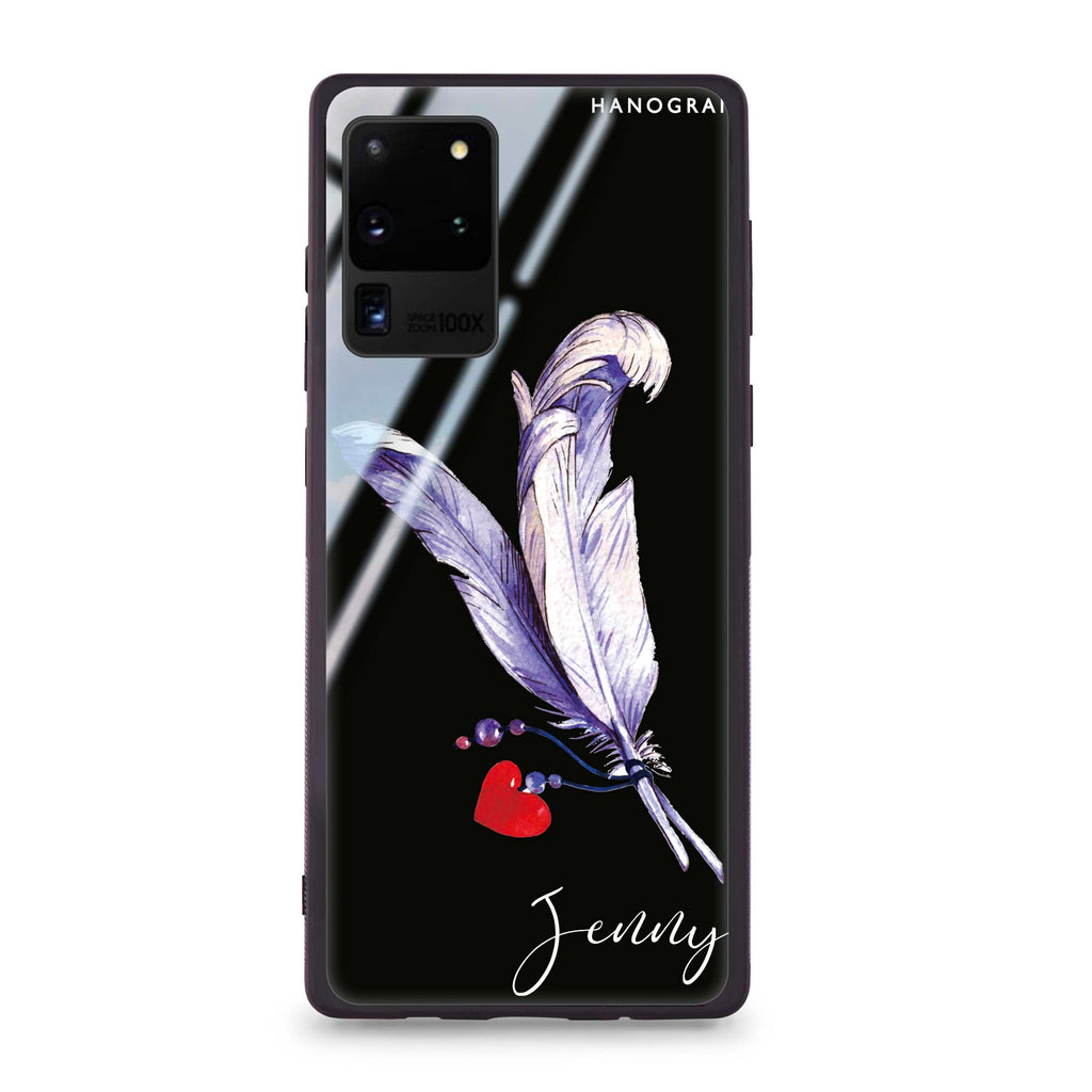 Feather Love Samsung S20 Ultra Glass Case