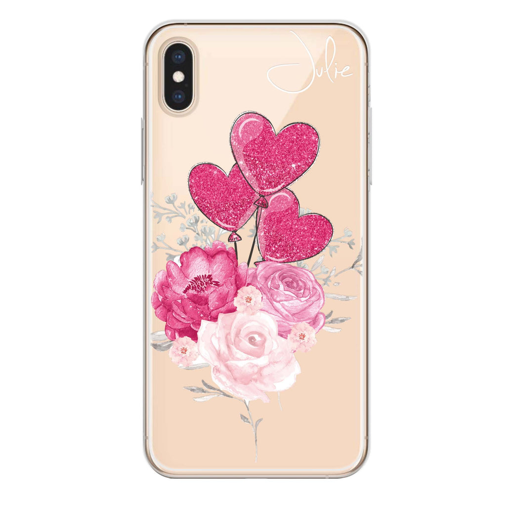 Sweet Heart With Rose iPhone XS Soft Clear Case