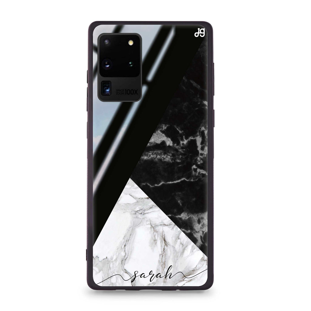 Black And White Marble Samsung S20 Ultra Glass Case