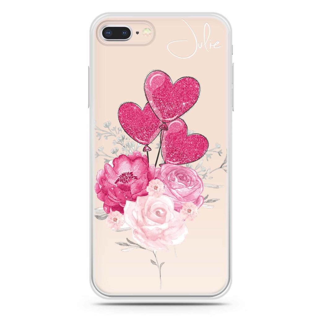 Sweet Heart With Rose iPhone 8 Soft Clear Case