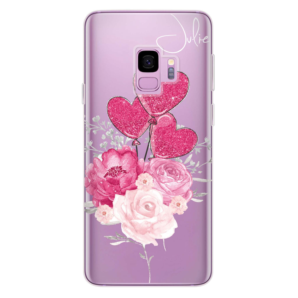 Sweet Heart With Rose Samsung S9 Soft Clear Case