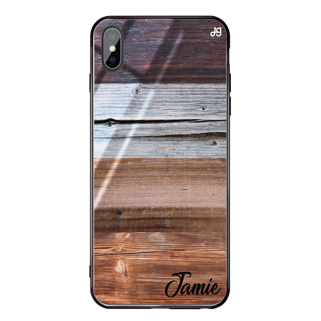 Wood Grain Varigegated iPhone XS Max Glass Case