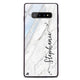 Vertical Cursive & Marble Sleek Samsung S10 Plus Glass Case