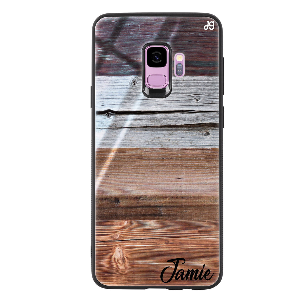 Wood Grain Varigegated Samsung S9 Glass Case