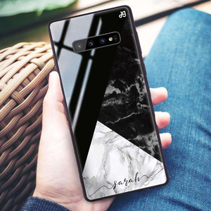 Black And White Marble Samsung S10 Plus Glass Case