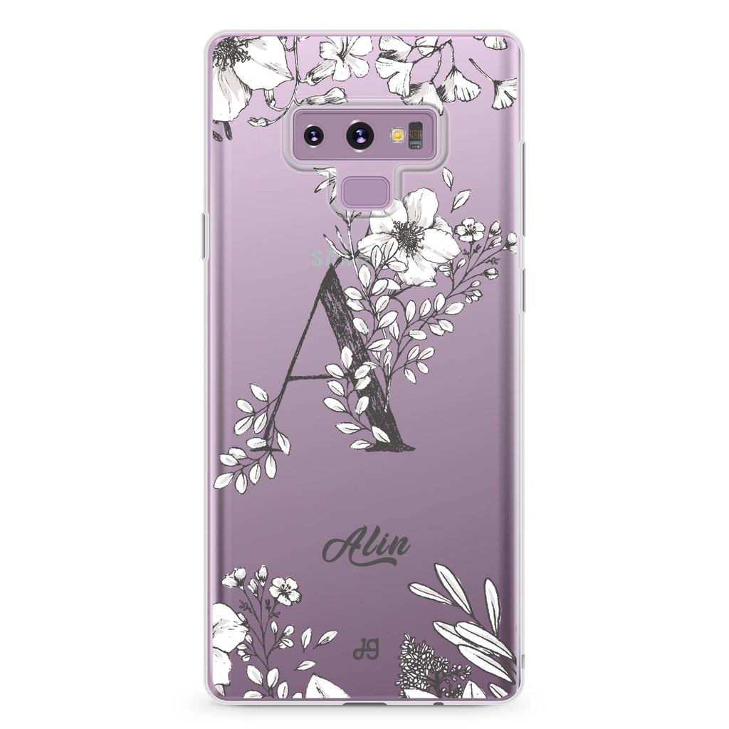 Vintage Floral Monogram Samsung Note 9 Soft Clear Case