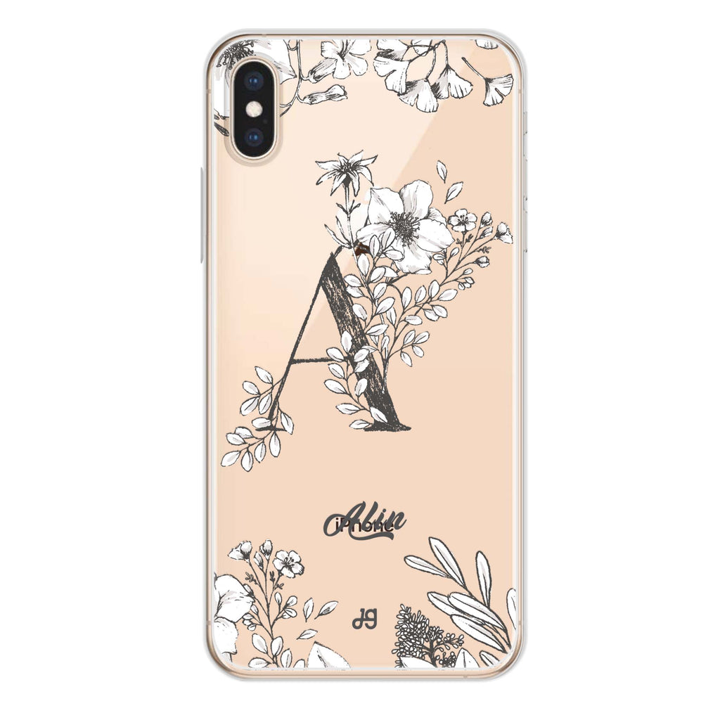 Vintage Floral Monogram iPhone XS Max Soft Clear Case