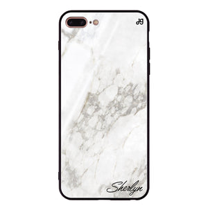 Simple White Marble iPhone 8 Plus Glass Case