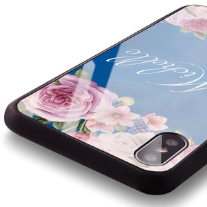 Light Pink Floral Princess Blue Glass Case
