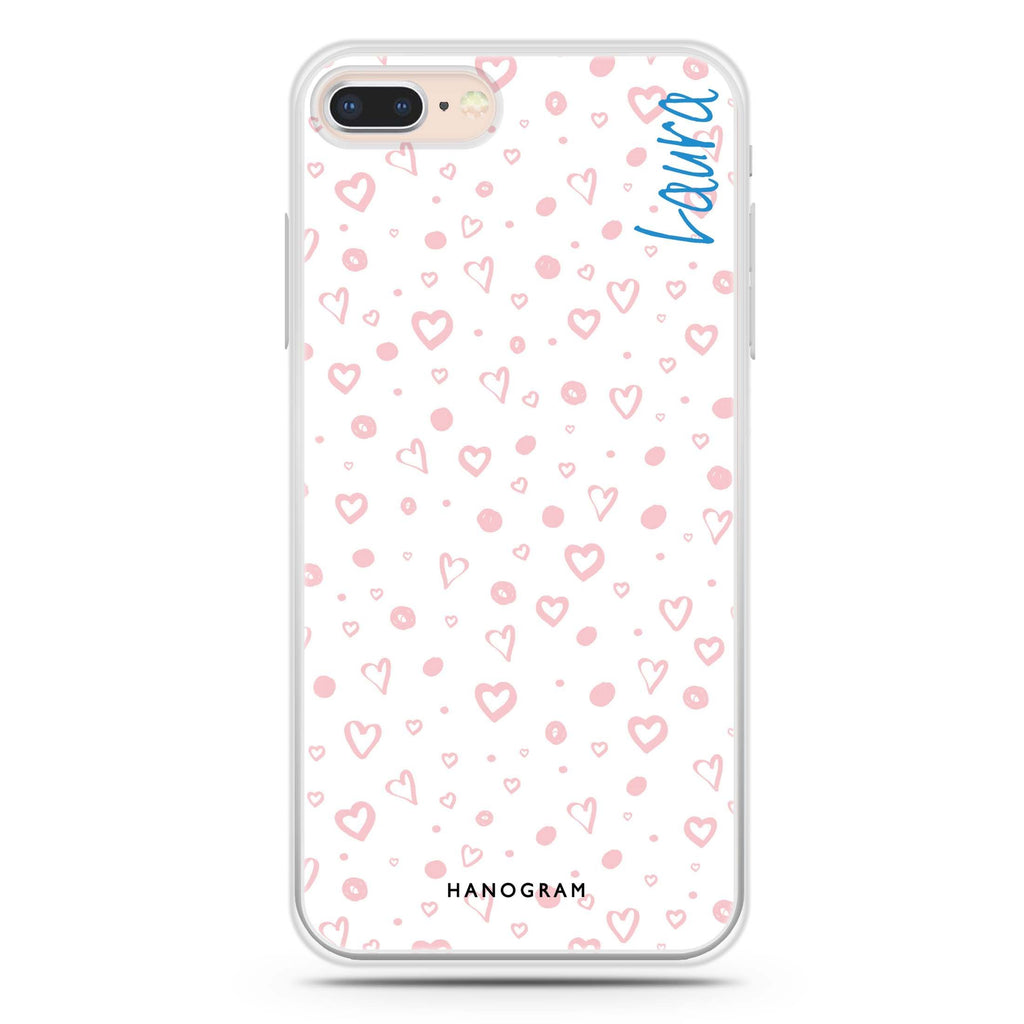 Pinky Hearts iPhone 8 Soft Clear Case
