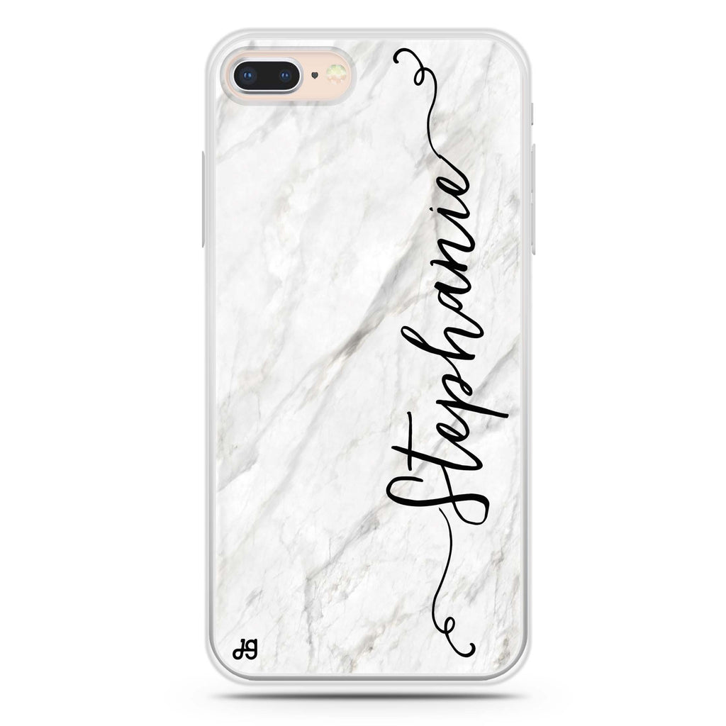 Vertical Cursive & Marble Sleek iPhone 8 Soft Clear Case