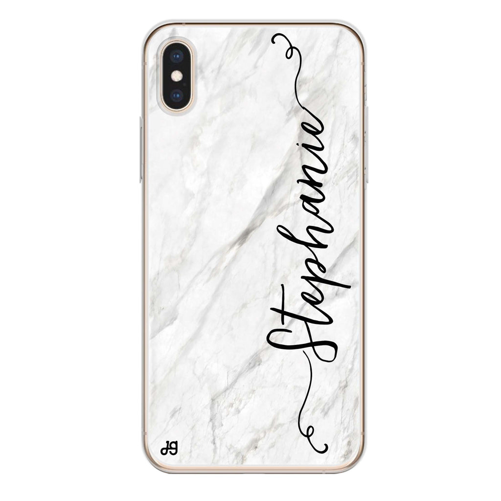 Vertical Cursive & Marble Sleek iPhone XS Soft Clear Case