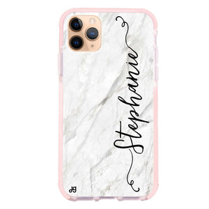 Vertical Cursive & Marble Sleek Frosted Bumper Case