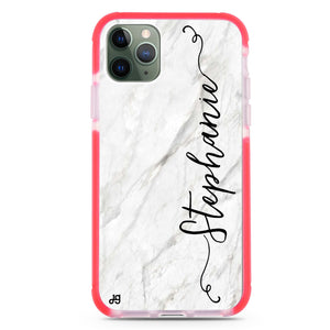 Vertical Cursive & Marble Sleek Shockproof Bumper Case