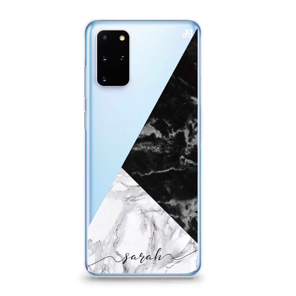 Black And White Marble Samsung S20 Plus Soft Clear Case