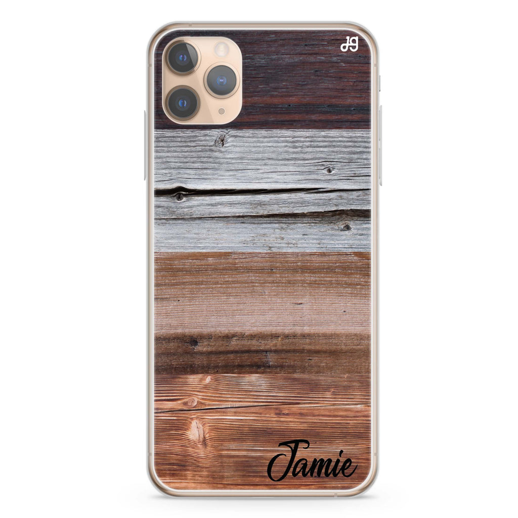 Wood Grain Varigegated iPhone 11 Pro Max Soft Clear Case