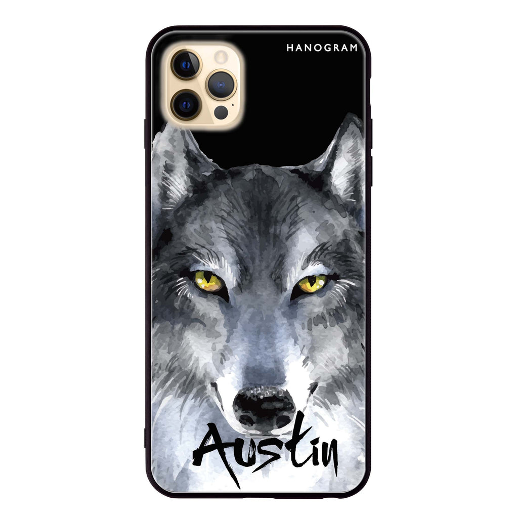 Snow Wolf Glass Case