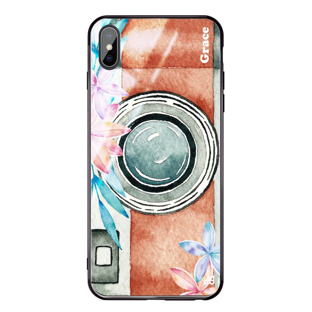 Watercolor Camera iPhone XS Max Glass Case