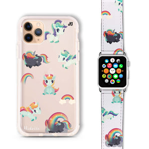 Unicorn & Rainbow - Frosted Bumper Case and Watch Band