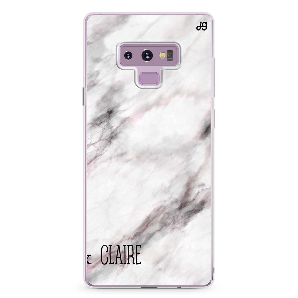 White Marble Samsung Note 9 Soft Clear Case