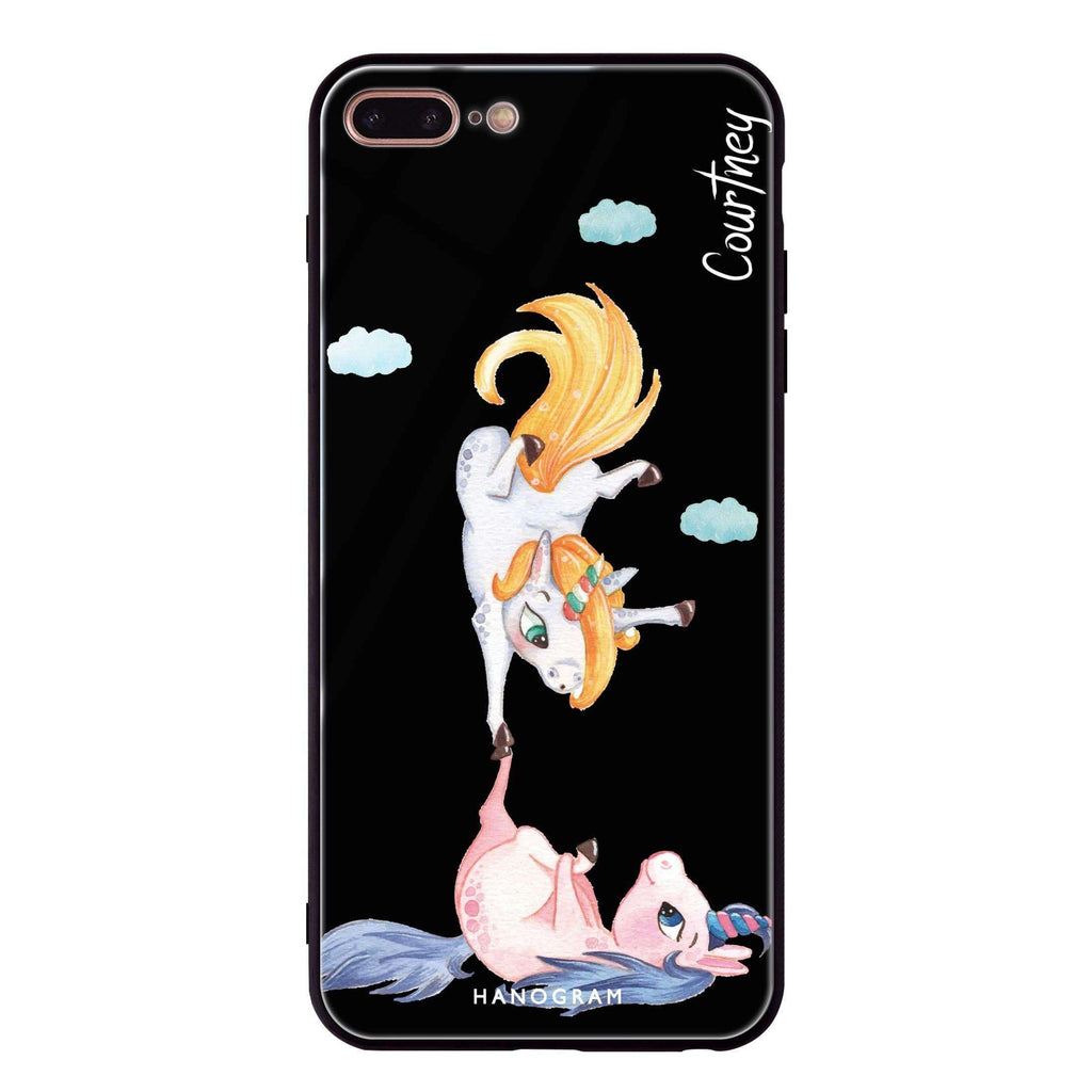 Rainbow Unicorn Dancing iPhone 8 Plus Glass Case