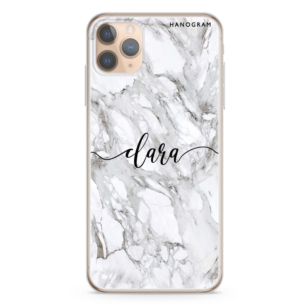 Powder Gray And White Marble iPhone 11 Pro Max Soft Clear Case