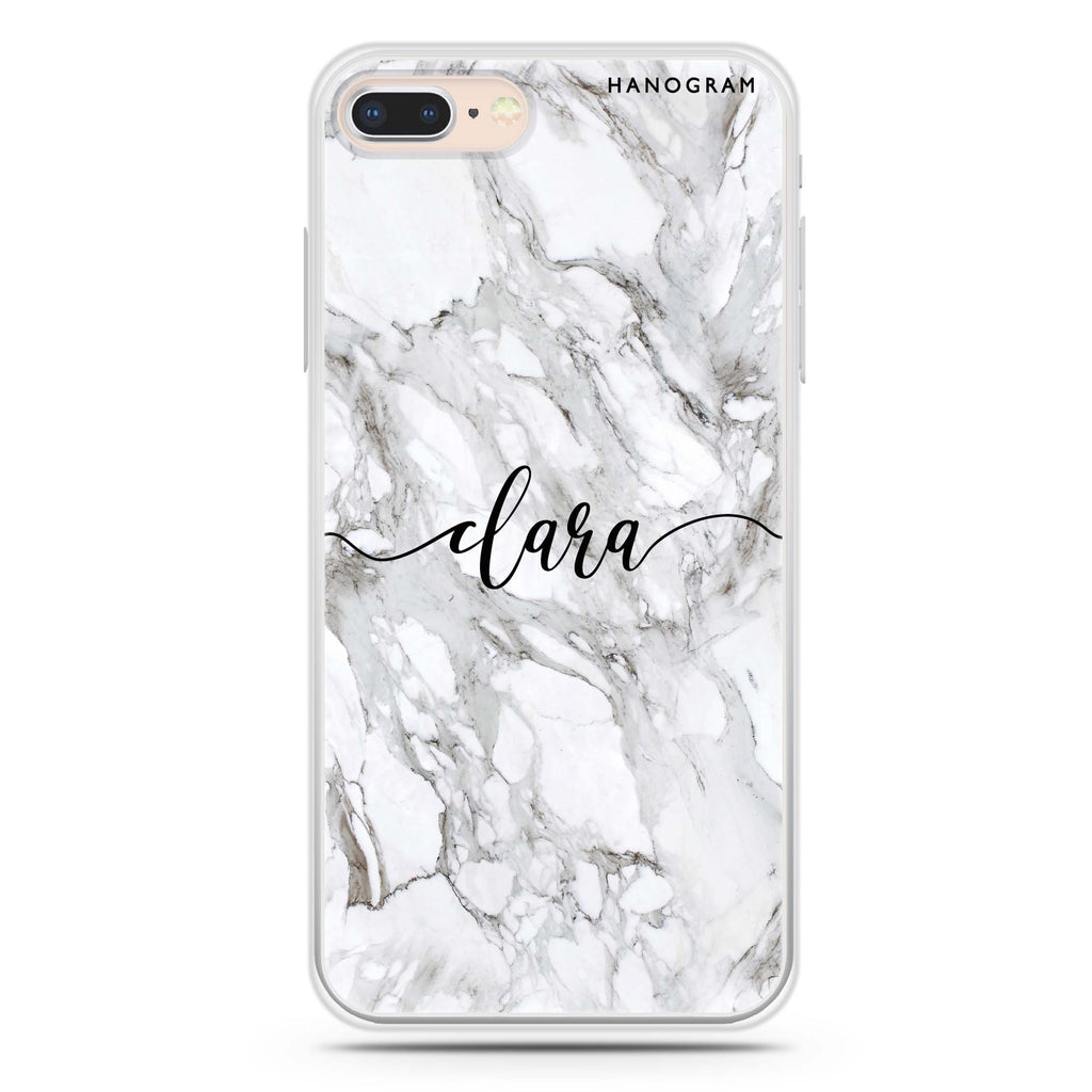 Powder Gray And White Marble iPhone 7 Plus Soft Clear Case