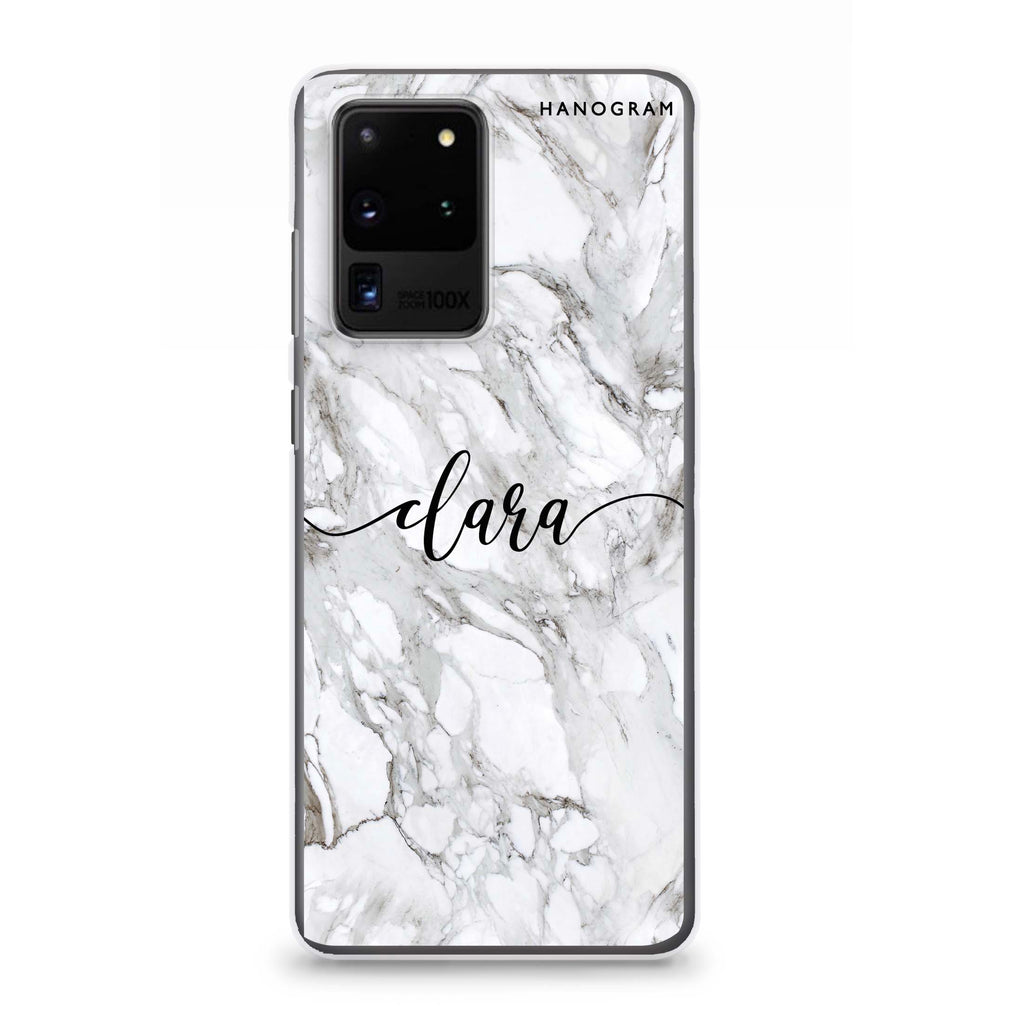 Powder Gray And White Marble Samsung S20 Ultra Soft Clear Case