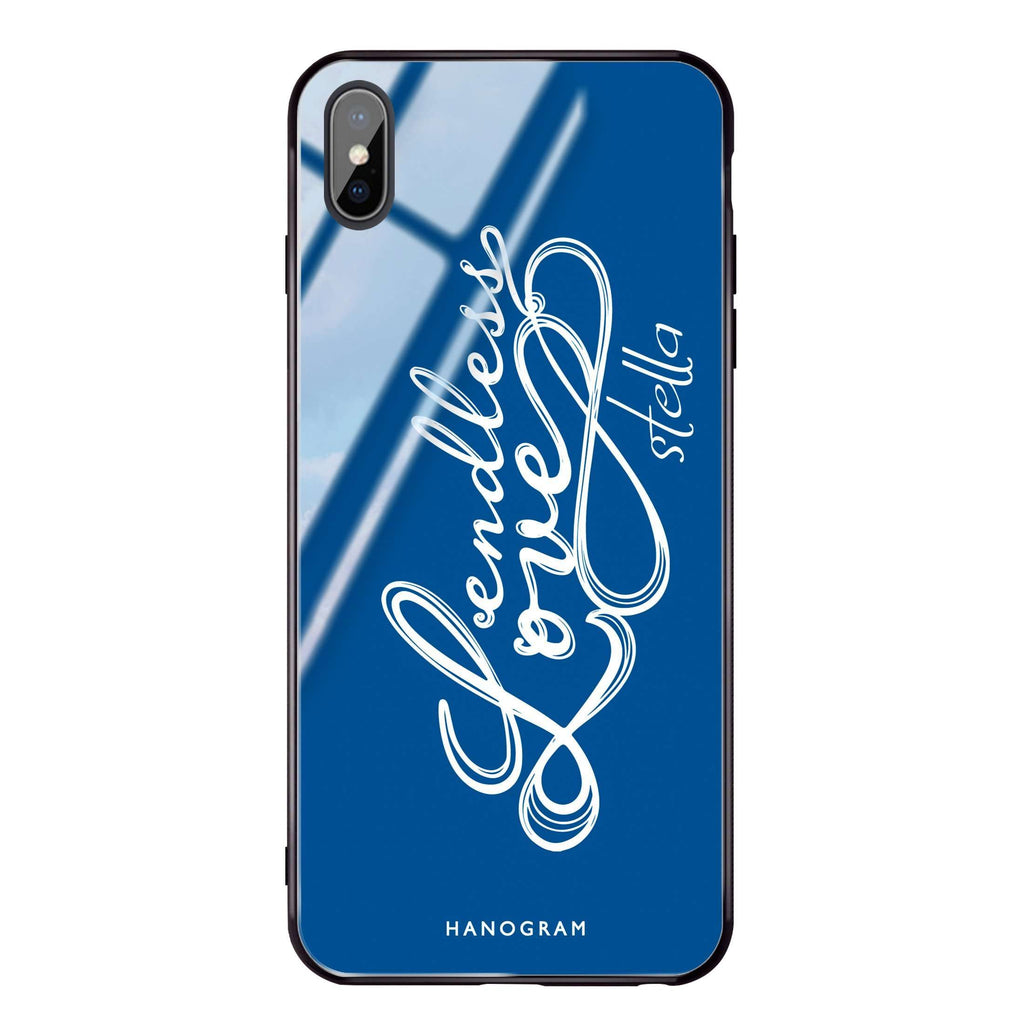 Infinity love Princess Blue Glass Case