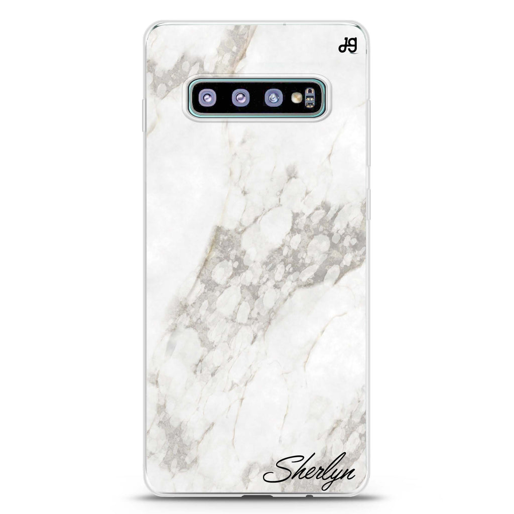 Simple White Marble Samsung S10 Plus Soft Clear Case