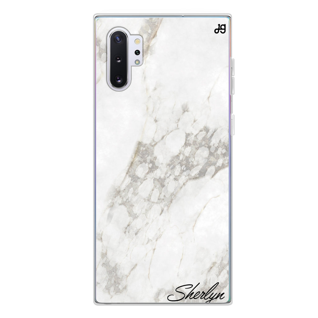 Simple White Marble Samsung Note 10 Plus Soft Clear Case