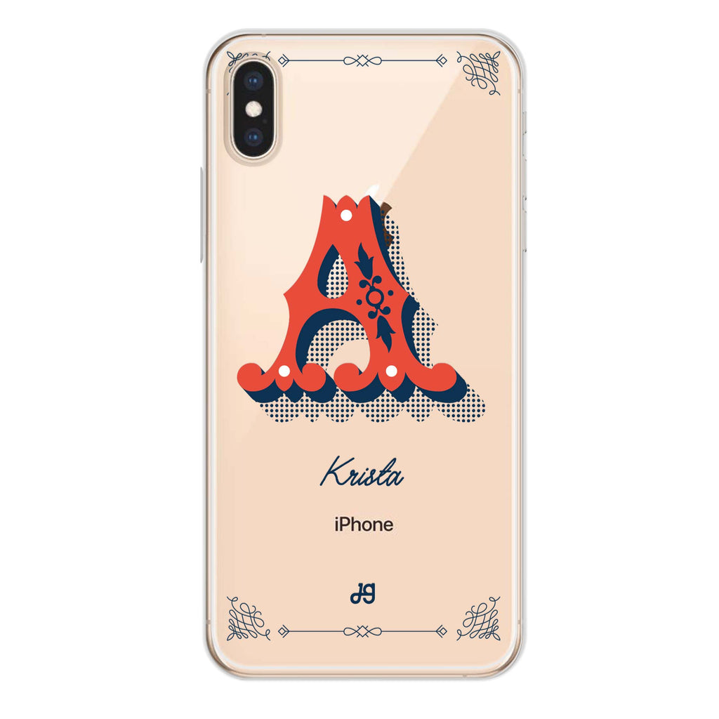 Vintage Ornamental Monogram iPhone XS Max Soft Clear Case
