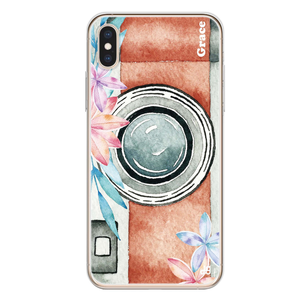 Watercolor Camera iPhone XS Soft Clear Case