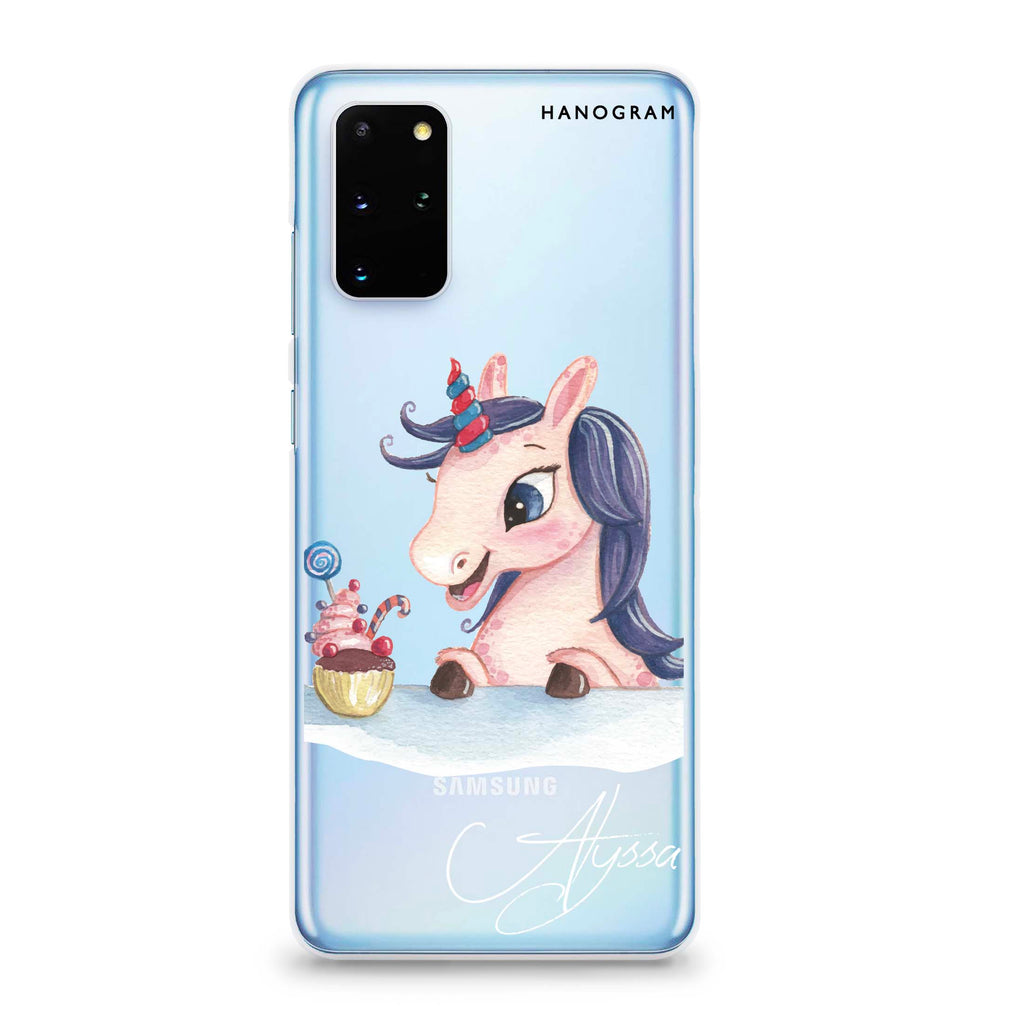 Rainbow Unicorn And Cupcake Samsung S20 Plus Soft Clear Case