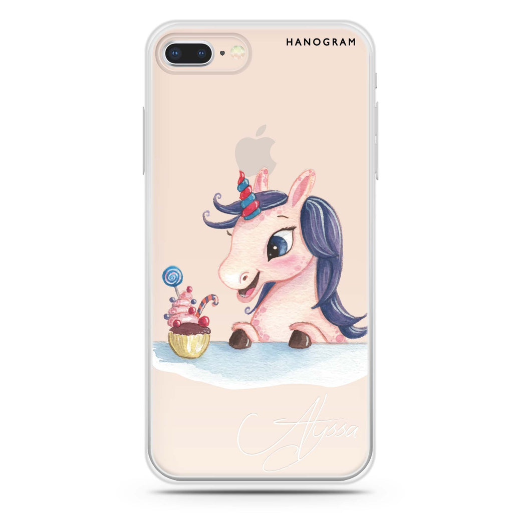 Rainbow Unicorn And Cupcake iPhone 8 Soft Clear Case