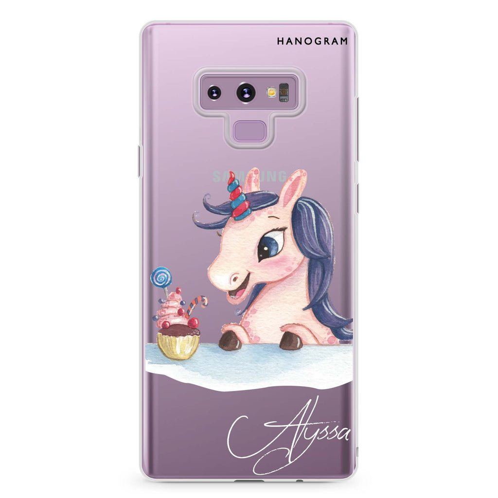 Rainbow Unicorn And Cupcake Samsung Note 9 Soft Clear Case