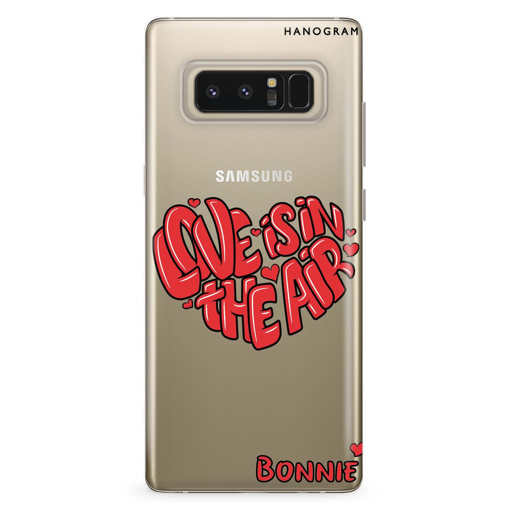 Red Word Heart Samsung Note 8 Soft Clear Case