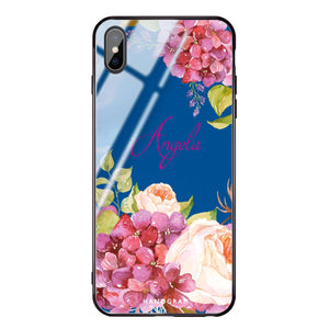 Pretty Floral Princess Blue Glass Case